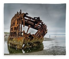 Shipwreck On Oregon Coast Fleece Blanket