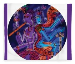 Shiva And Krishna Fleece Blanket