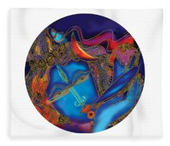 Shiva Blowing The Horn Fleece Blanket