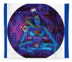 Shiva In Meditation Fleece Blanket