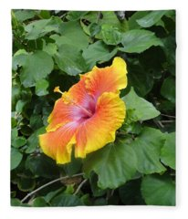 Orange Yellow Flower Shoot Out Fleece Blanket