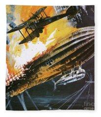 Shooting Down A Zeppelin During The First World War Fleece Blanket