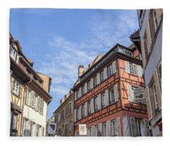 Shopping District In Strasbourg France Fleece Blanket