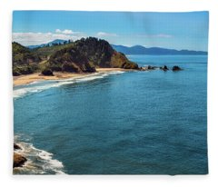 Short Beach, Oregon Fleece Blanket
