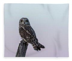 Short-eared Owl 2018-1 Fleece Blanket
