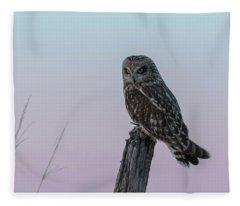 Short-eared Owl 2018-4 Fleece Blanket