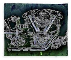Harley - Davidson Shovelhead Engine Fleece Blanket
