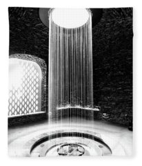 Shower Inside The Grotto Black And White Fleece Blanket
