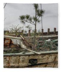 Shrimp Boat With Tree Growing In It  Fleece Blanket