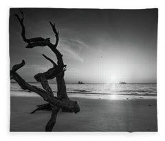 Shrimp Boats And Driftwood In Black And White Fleece Blanket