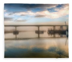 Shrimp Boats At Sunrise Fleece Blanket