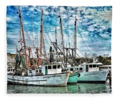 Shrimp Boats Fleece Blanket