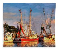 Shrimp Boats Shem Creek In Mt. Pleasant  South Carolina Sunset Fleece Blanket
