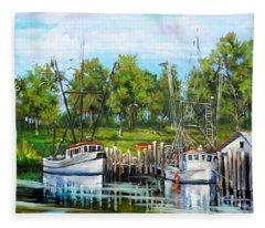 Shrimping Boats Fleece Blanket