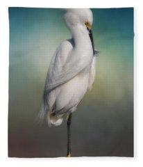 Shy Egret Fleece Blanket