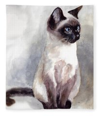 Siamese Kitten Portrait Fleece Blanket