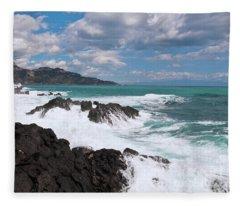 Sicilian Stormy Sound Fleece Blanket