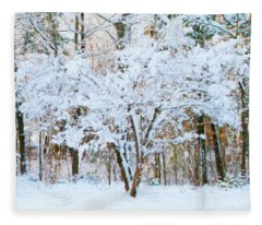 Siebold Viburnum In Snow Fleece Blanket
