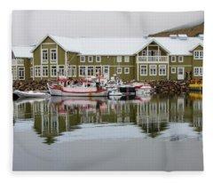 Siglufjorodur Fishing Village, Iceland Fleece Blanket