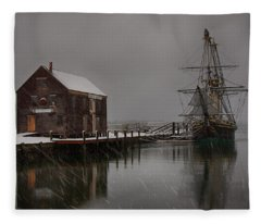 Silently The Snow Falls. Fleece Blanket