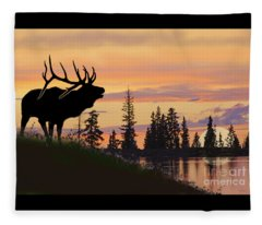 Silhouette Elk Lake Sunset Reflections Fleece Blanket