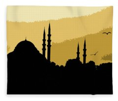 Silhouette Of Mosques In Istanbul Fleece Blanket