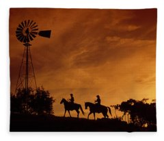 Silhouette Of Two Horse Riders Fleece Blanket