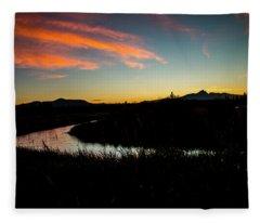 Silhouette Sunset Fleece Blanket