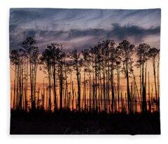 Silhouetted Sunset Fleece Blanket