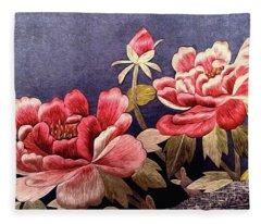 Silk Peonies - Kimono Series Fleece Blanket