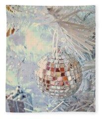 Silver And White Christmas Fleece Blanket
