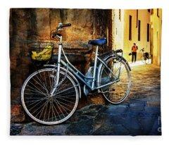 Silver Bicycle Of Florence Fleece Blanket