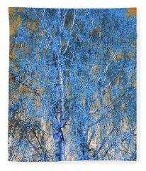 Silver Birch In Blue Fleece Blanket