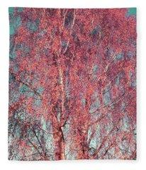 Silver Birch In Pink Fleece Blanket