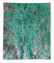 Silver Birch In Turquoise Fleece Blanket