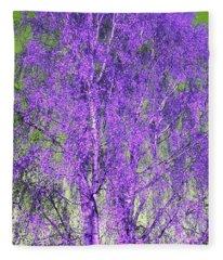 Silver Birch In Violet Fleece Blanket