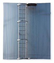 Silver Blue Silo With Steel Ladder. Fleece Blanket