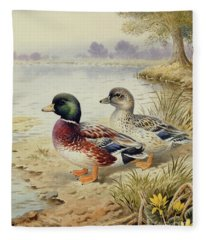 Silver Call Ducks Fleece Blanket