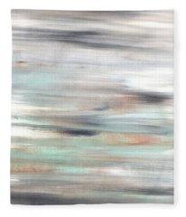 Silver Coast #25 Silver Teal Landscape Original Fine Art Acrylic On Canvas Fleece Blanket