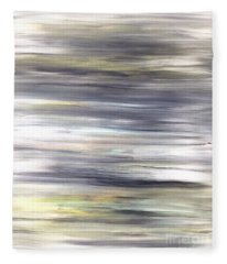 Silver Coast #26 Silver Teal Landscape Original Fine Art Acrylic On Canvas Fleece Blanket