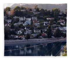 Silver Lake Reservoir And Hollywood Hills Fleece Blanket