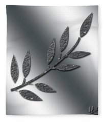 Silver Leaves Abstract Fleece Blanket