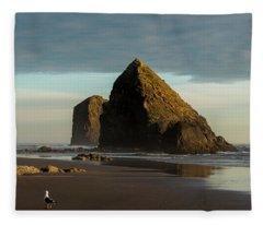 Silver Point Seastacks Fleece Blanket