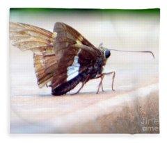 Silver Spotted Skipper Butterfly Fleece Blanket