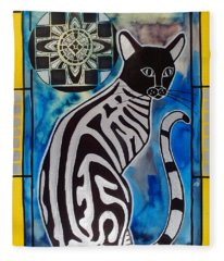 Silver Tabby With Mandala - Cat Art By Dora Hathazi Mendes Fleece Blanket