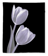 Silver Tulips Fleece Blanket