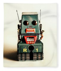 Simple Robot From 1960 Fleece Blanket