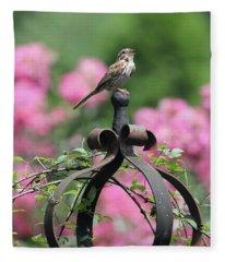 Singing Song Sparrow Fleece Blanket