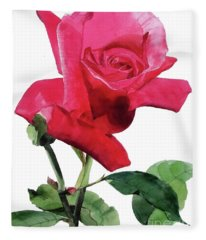 Single Bright Pink Rose Unfolding Fleece Blanket