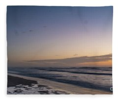 Single Man Walking On Beach With Sunset In The Background Fleece Blanket